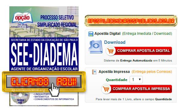Apostila Concurso SEE SP 2017 Diadema PDF Agente de Organização Escolar