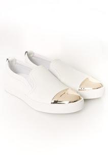 Espadrile dama albe cu argintiu Guess Jeans din piele