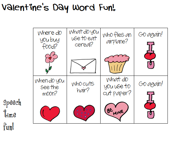 valentine 39 s day word fun speech time fun speech and language activities. Black Bedroom Furniture Sets. Home Design Ideas