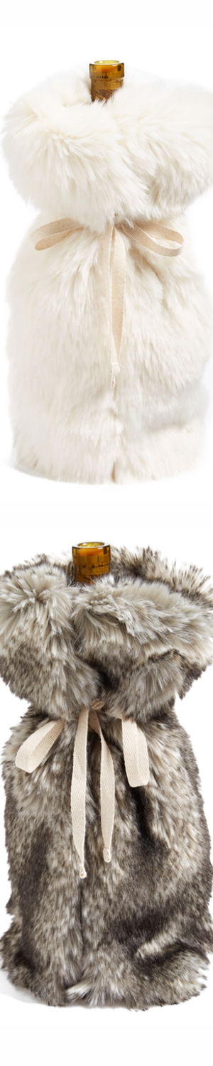 Nordstrom at Home 'Cuddle Up' Faux Fur Wine Bag