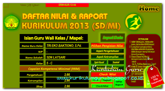 Download Aplikasi Raport Kurikulum 2013 SD Edisi Revisi 2016