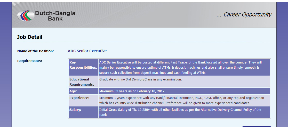 recently dutch bangla bank limited is looking for experienced personnel for the post of adc senior executive please see the jobs details