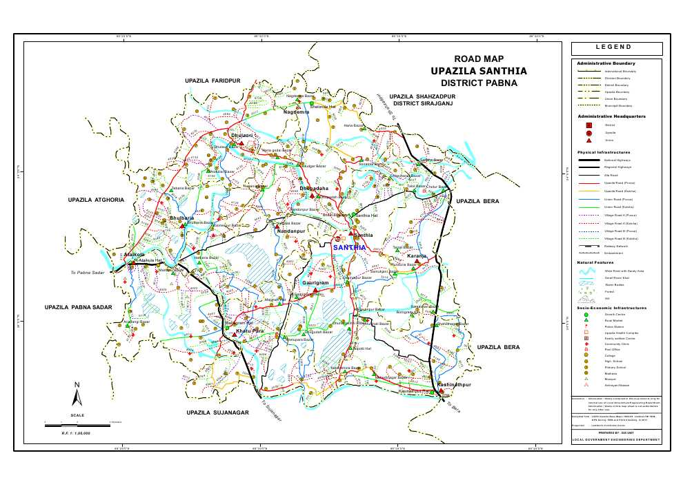 Santhia Upazila Road Map Pabna District Bangladesh