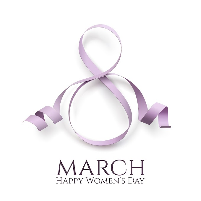 Woman day 8 march women's day card with ribbon free vector