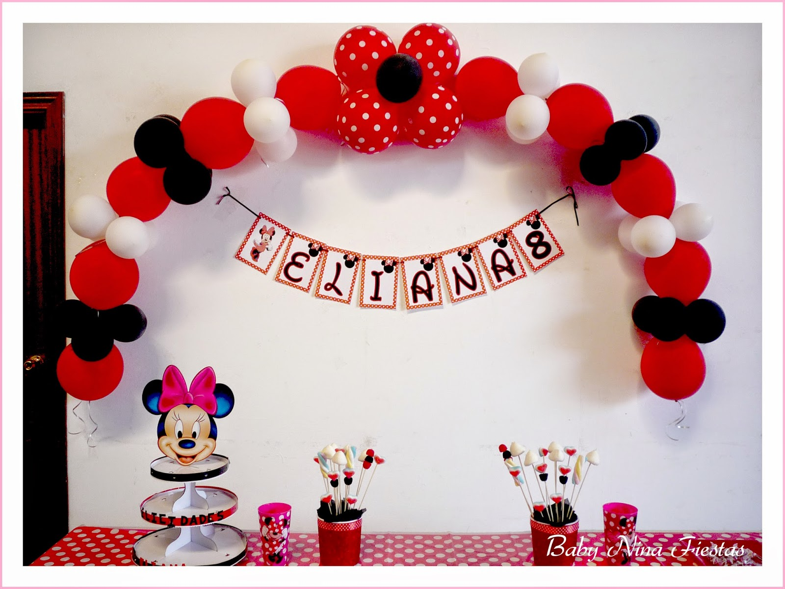Baby nina fiestas decoraci n para el cumple minnie mouse - Decoracion blanco negro rojo ...