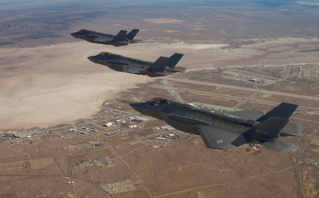 F-35s Lined Up In The Sky