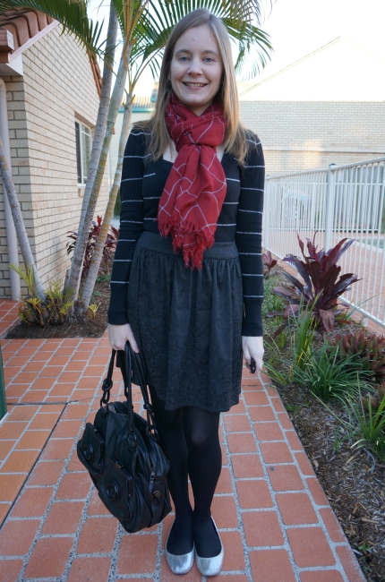 Away From Blue daily outfit black stripe knit burgundy scarf jacquard skirt silver flats