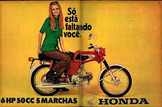 propaganda moto Honda 50 CC - 1970, história anos 70, propaganda década de 70; Brazilian advertising cars in the 70s; reclame anos 70; Oswaldo Hernandez;