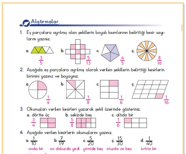 3. Sınıf Berkay Yayınları Matematik Ders Kitabı 178.Sayfa Cevapları Kesirler