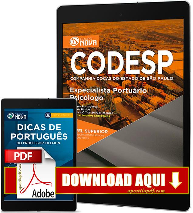 Apostila CODESP 2017 PDF Download Psicólogo Grátis Curso Online