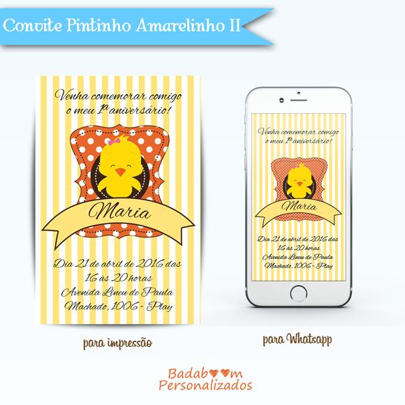 Convite Digital para Impressão e Whatsapp Pintinho Amarelinho