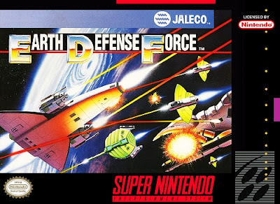Front cover of Super Earth Defense Force for the Super Nintendo Entertainment System.