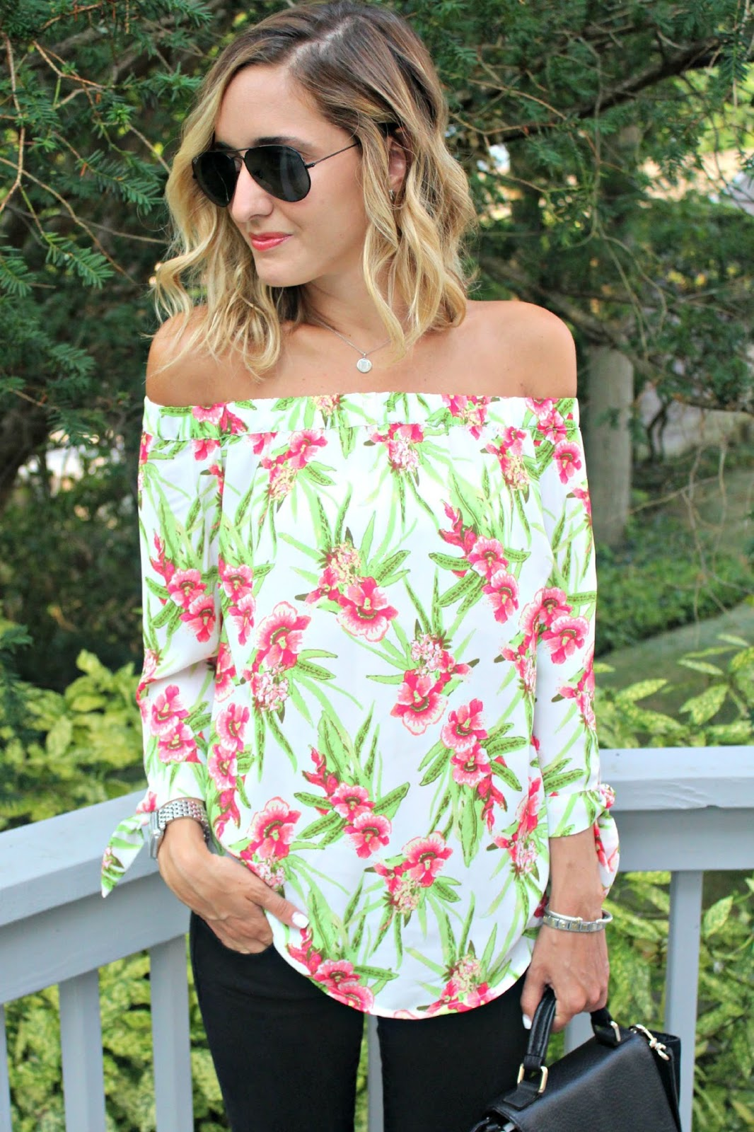eshakti off the shoulder floral top
