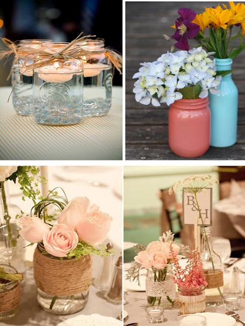 vidros e garrafas na decoraçao