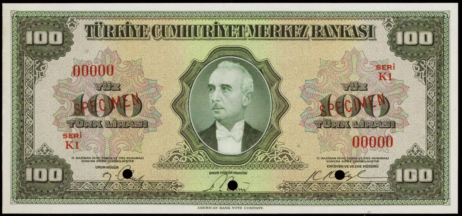 Banknotes of Turkey 100 Turkish Lira banknote 1947 İsmet İnönü 1930