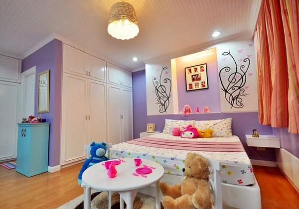 Cuarto color lila para adlescente