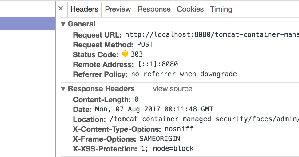 Apache Tomcat Container Managed Security and HTTP Security Headers