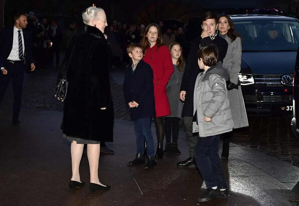 Crown Princess Mary in Massimo Dutti cashmere coat. Princess Marie wore a new Hugo Boss coat. Princess Isabella and Princess Josephine
