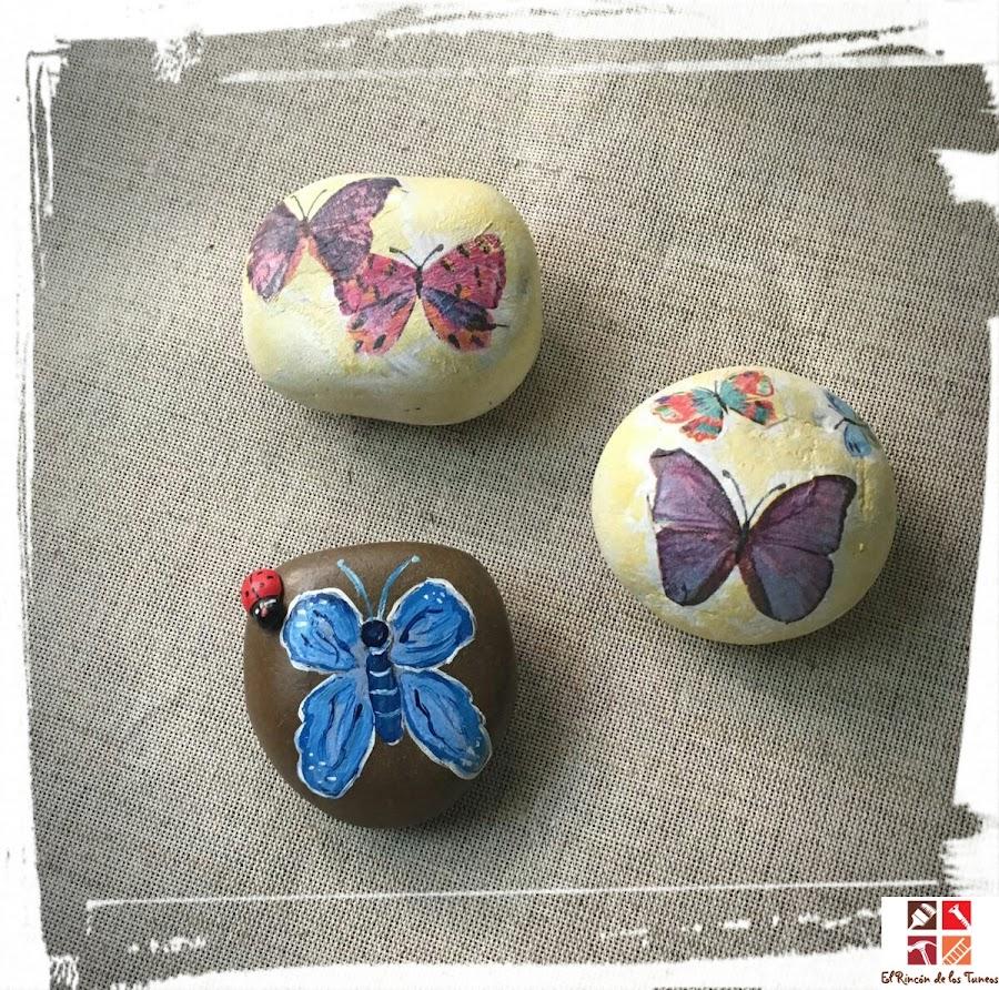 piedras con decoupage