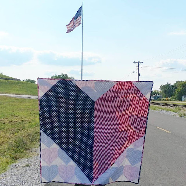 Red, white, and blue heart quilt for USS John S McCain