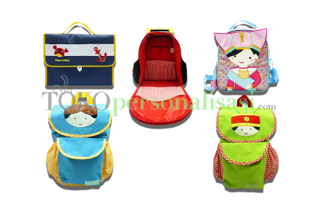 Kumpulan tas-tas sekolah yang unik dan dapat dibordir dengan nama anak Anda