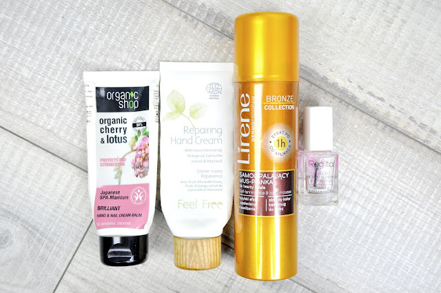 krem do rąk organic shop cherry&lotus japanese spa manicure brilliant handnail cream balm, krem do rąk feel free repairing hand cream, samoopalacz lirene, olejek do skórek i paznokci regital