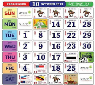Kalendar Oktober 2019