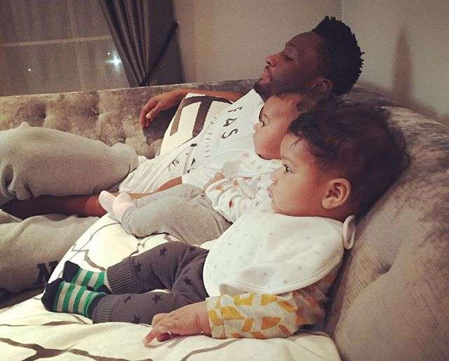 Aww! Mikel Obi goofs around with his twin daughters