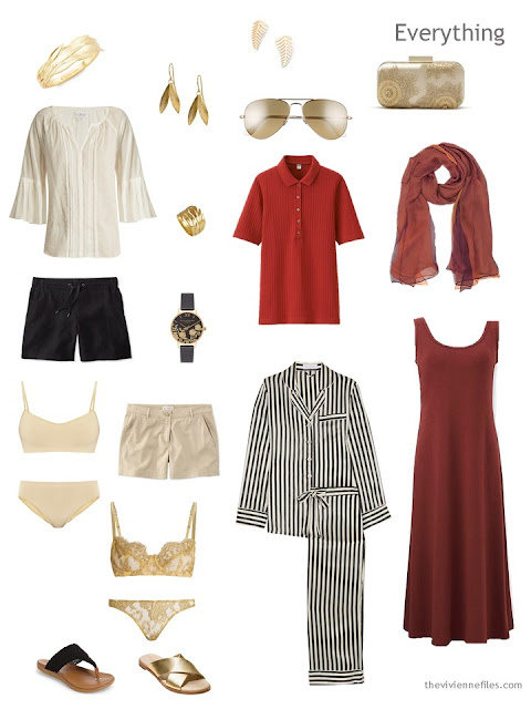warm weather travel capsule wardrobe in black, ivory, gold and rust