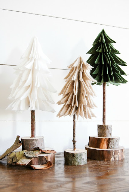 Rustic DIY felt trees