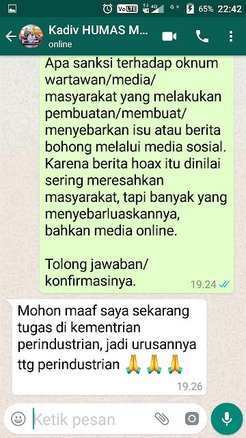 Screnshot wawancara TASLABNEWS.com dengan mantan Kadiv Humas Mabes Polri Irjend Setyo Wasisto via WhatsApp.