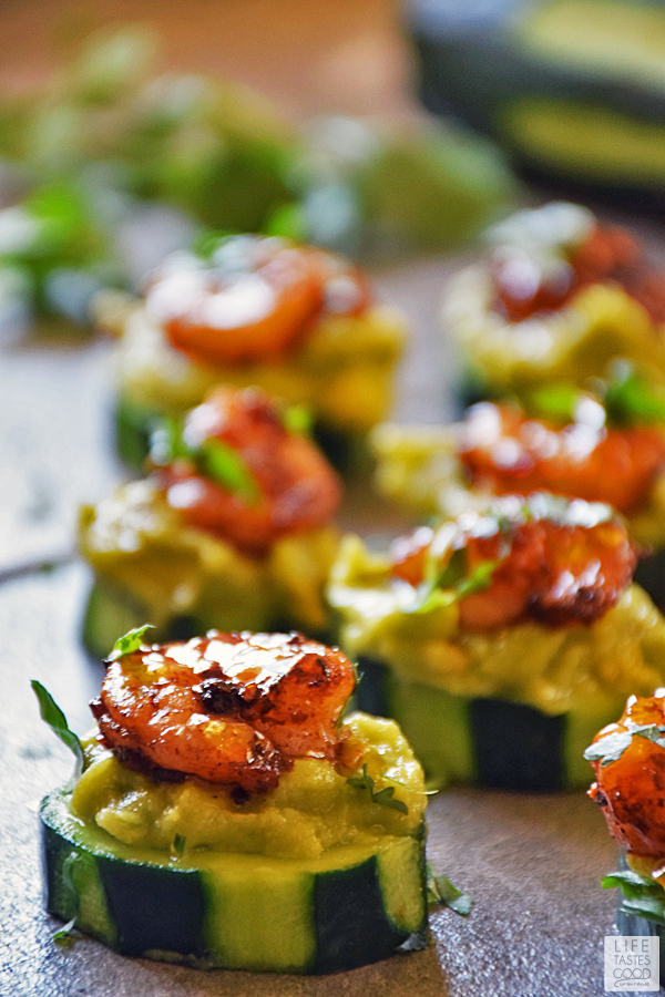 Cucumber Bites with Creole Shrimp and Guacamole #SundaySupper