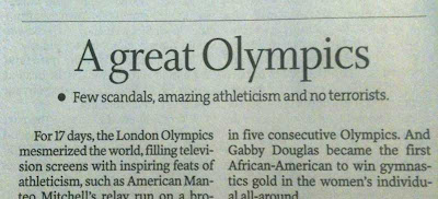 Star Tribune editorial headline A Great Olympics: Few Scandals, Amazing Athleticism, and No Terrorism