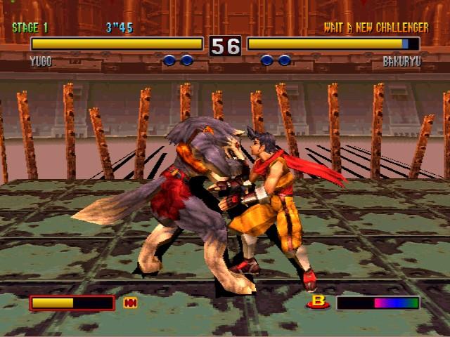Juego de pelea entre personajes capaces de transformarse en bestias animales, en este caso pelean Yugo el lobo y Bakuryo el topo
