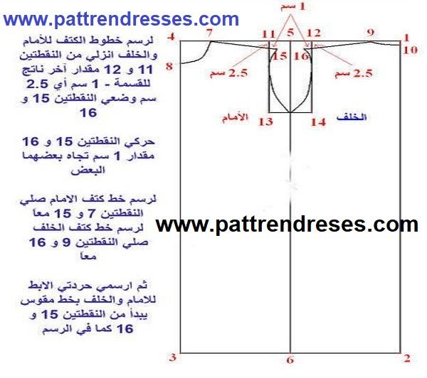 تعلم الخياطة والتفصيل : الدرس الثاني رسم الجزء الاول من قالب البترون (2)