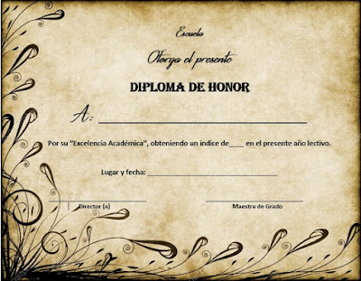 diploma de honor para llenar y modificar