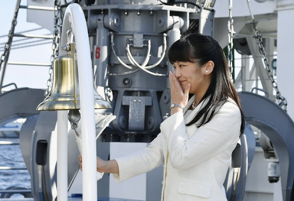 "Princess Mako of Akishino visited the research vessel ""Kaimei"" (enlightened) which is currently docked at the Ariake Pier in Tokyo harbour. new dress fashions, newmyroyals"