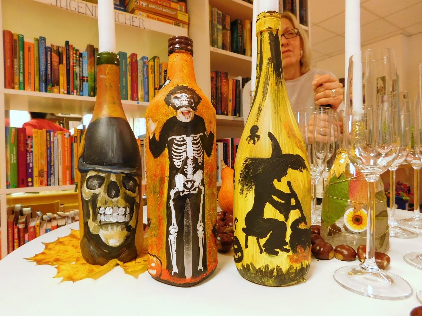 flaschen bemalen mit acrylfarbe