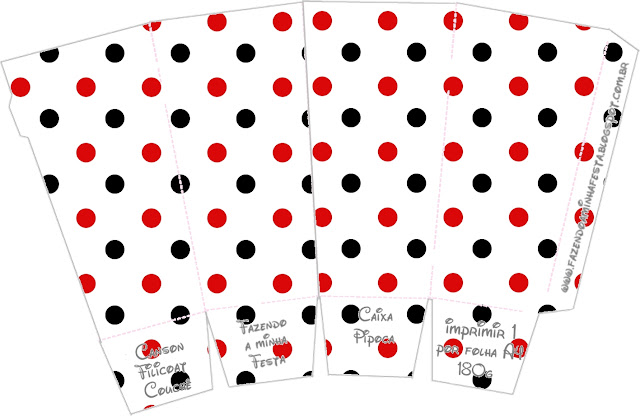 Red Polka Dots in Black and White Free Printable Pop Corn Box.