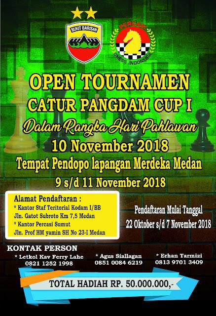 Open Tournamen Catur Pangdam Cup 1, 11 Nopember 2018 di Medan