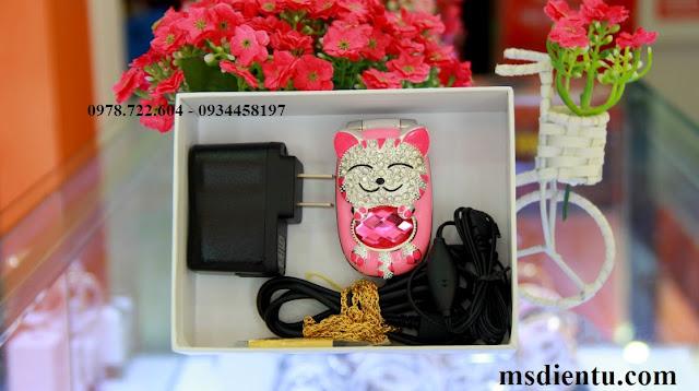 địa chỉ bán điện thoại mèo đính đá màu hồng giá rẻ