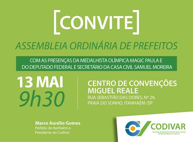 Assembleia do Codivar terá presenças da ex-atleta Magic Paula  e do secretário Samuel Moreira