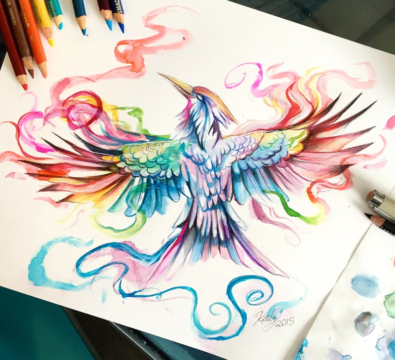 14-Mockingjay-Katy-Lipscomb-Lucky978-Fantasy-Watercolor-Paintings-Colored-Pencils-Drawings-www-designstack-co