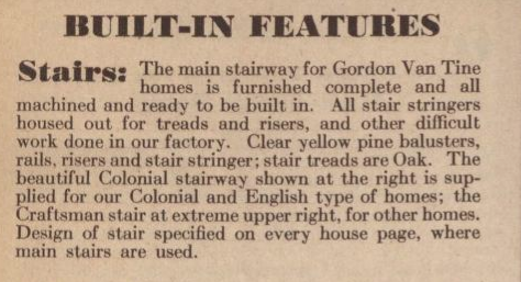 description of staircase from GVT 1931 catalog