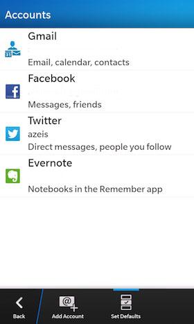 Para realizar el envío de correos electrónicos y agregar citas en el calendario, Puedes configurar tus cuentas por defecto en el dispositivo de modo que esté listo al instante al añadir nuevos elementos. En lugar de tener que elegir una dirección de e-mail o desplazarte por la lista del calendario, puedes configurar tus cuentas por defecto en BlackBerry 10 más utilizadas. Está guía nos llega por parte de los amigos de CrackBerry donde nos muestran como añadir las cuentas por defecto. Cómo configurar las cuentas por defecto en BlackBerry 10 Toca en el icono de configuración Toca en Cuentas Toca