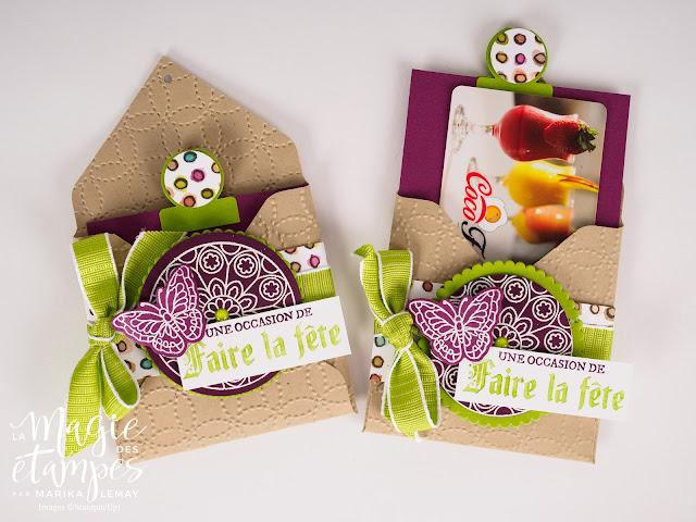 Porte carte cadeau Stampin' Up! avec le jeu d'étampes Vitrail