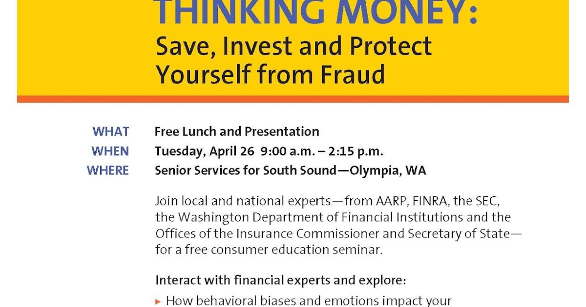 Thinking money save invest and protect yourself from fraud seminar solutioingenieria Choice Image