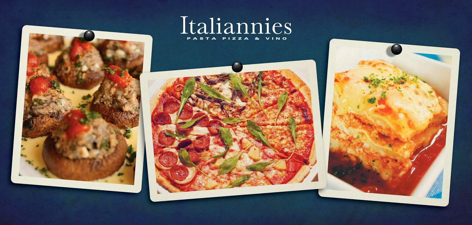 Stuffed Mushrooms, Pizza Enorme and Lasagna A La Ravina - Italiannies Sundown Buffet
