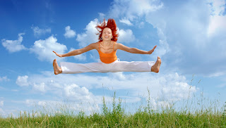 Woman jumping happy