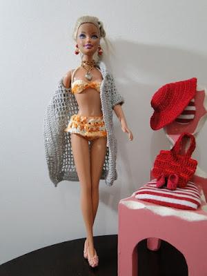 Roupa de Praia de Crochê Para Barbie, por Pecunia MillioM